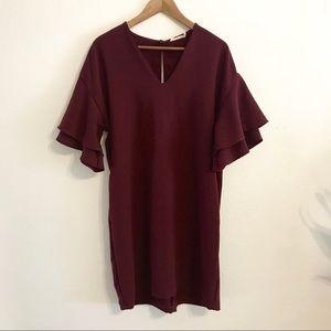 LUSH // Burgundy Tiered Sleeve V-neck Shift Dress
